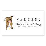 Beware of Dog Rectangle Sticker 50 pk)