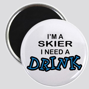Skier Need a Drink Magnet