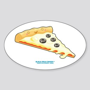 Kawaii Olive Pizza Slice Oval Sticker