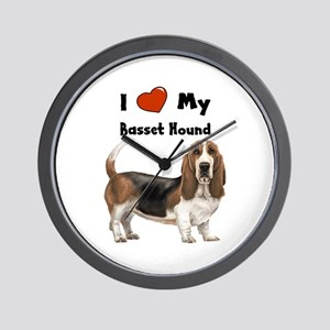 I Love My Basset Hound Wall Clock