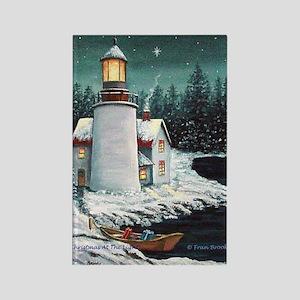 Christmas Lighthouse Rectangle Magnet
