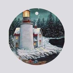 Christmas Lighthouse Ornament (Round)