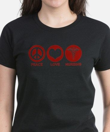 Peace Love Nursing Women's Dark T-Shirt