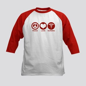 Peace Love Nursing Kids Baseball Jersey