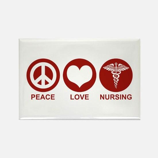 Peace Love Nursing Rectangle Magnet
