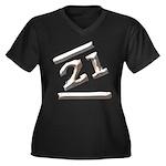 21st Birthday Gifts Women's Plus Size V-Neck Dark