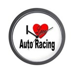 I Love Auto Racing Wall Clock