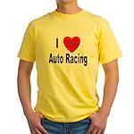 I Love Auto Racing Yellow T-Shirt