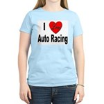 I Love Auto Racing (Front) Women's Pink T-Shirt