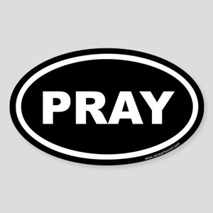 Pray Oval Sticker (Euro)