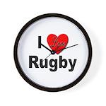 I Love Rugby Wall Clock