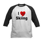 I Love Skiing Kids Baseball Jersey