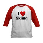 I Love Skiing (Front) Kids Baseball Jersey