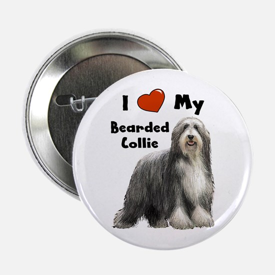 "I Love My Bearded Collie 2.25"" Button"
