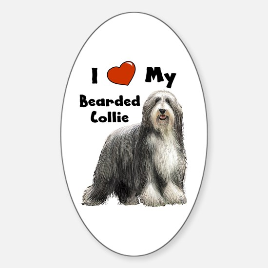 I Love My Bearded Collie Oval Decal