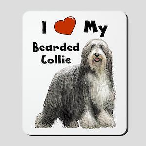 I Love My Bearded Collie Mousepad
