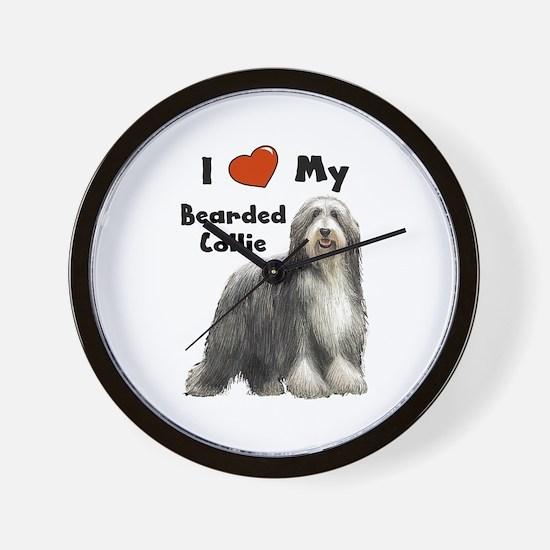I Love My Bearded Collie Wall Clock