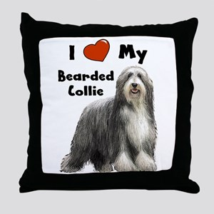 I Love My Bearded Collie Throw Pillow