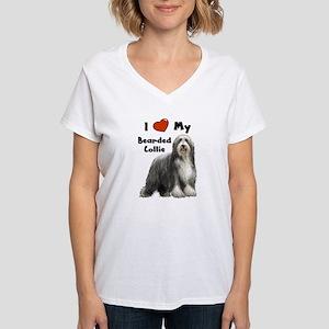 I Love My Bearded Collie Women's V-Neck T-Shirt