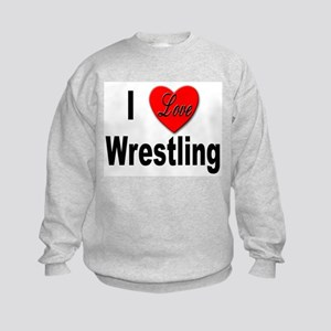 I Love Wrestling (Front) Kids Sweatshirt