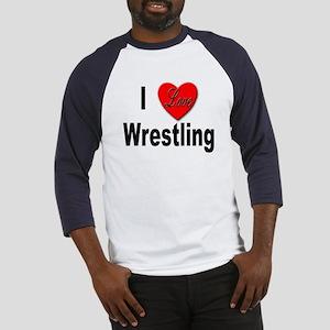 I Love Wrestling (Front) Baseball Jersey