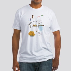 Fat Cat on Table Fitted T-Shirt