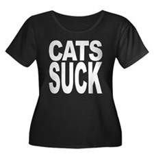 Cats Suck Women's Plus Size Scoop Neck Dark T-Shir