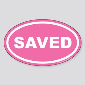 Pink Saved Oval Sticker (Euro)