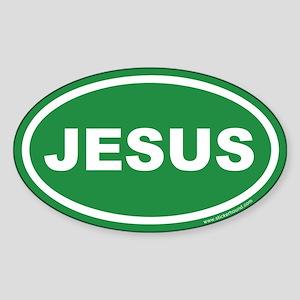 Green Jesus Oval Sticker (Euro)