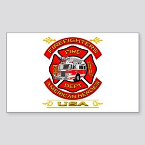 Firefighters~American Heroes Rectangle Sticker