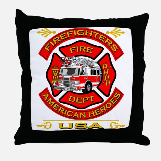 Firefighters~American Heroes Throw Pillow