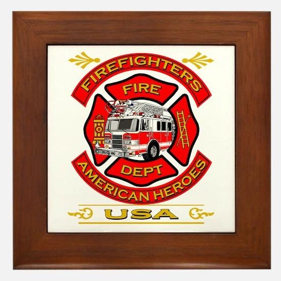 Firefighters~American Heroes Framed Tile