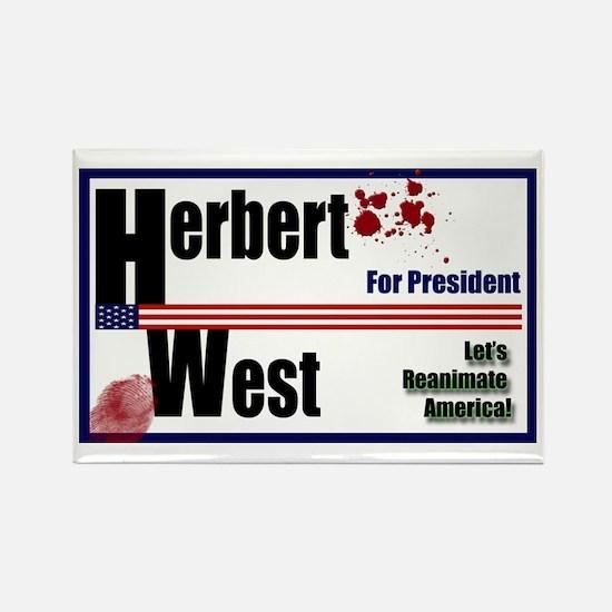 Herbert West reanimator president Rectangle Magnet