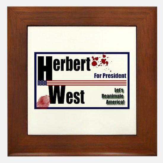Herbert West reanimator president Framed Tile
