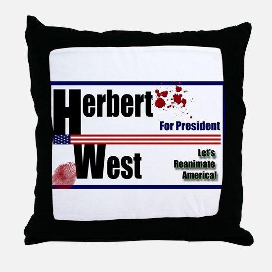 Herbert West reanimator president Throw Pillow
