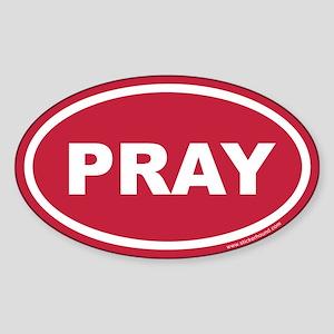 Red Pray Oval Sticker (Euro)