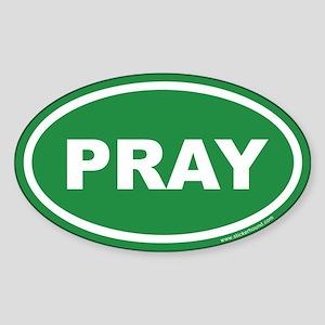 Green Pray Oval Sticker (Euro)