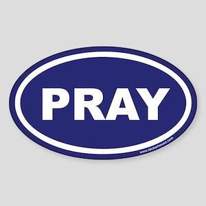 Blue Pray Oval Sticker (Euro)
