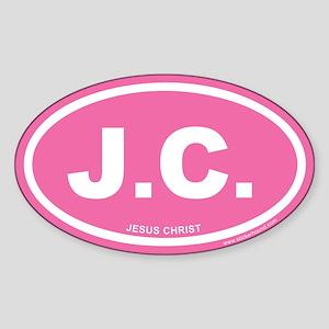 Pink Jesus Christ Oval Sticker (Euro)