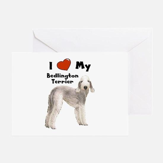 I Love My Bedlington Terrier Greeting Card