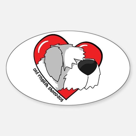 Cartoon Sheepdog Oval Decal