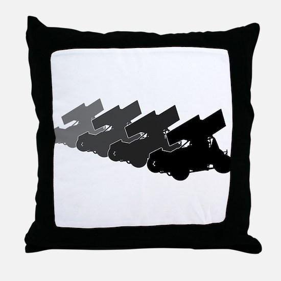 Sprintcars-4abreast Throw Pillow