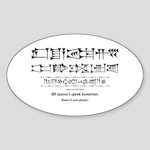 I Speak Sumerian Oval Sticker