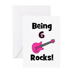 Being 6 Rocks! pink Greeting Card