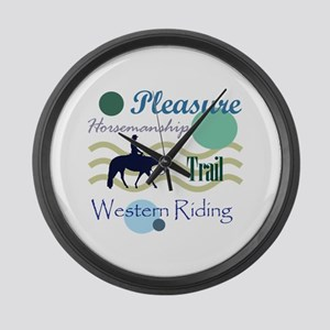 Western All Around in Blue Large Wall Clock