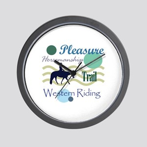 Western All Around in Blue Wall Clock