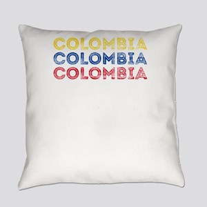 Colombia Text Flag Colombian Pri Everyday Pillow