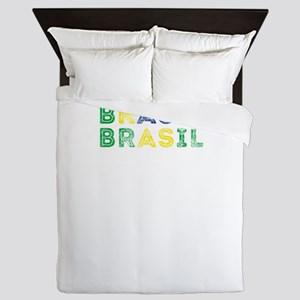 Brazil Text Flag Brazilian Pride Des Queen Duvet