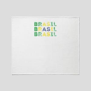 Brazil Text Flag Brazilian Pride D Throw Blanket