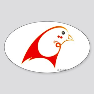 Eshgh (Love) Red Bird Oval Sticker